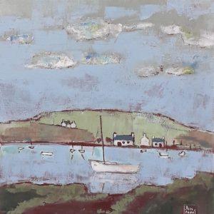 Petit port breton, acrylique sur toile.