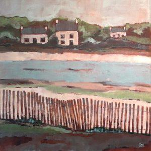 Trois maisons bretonnes en bord de mer, acrylique sur toile.