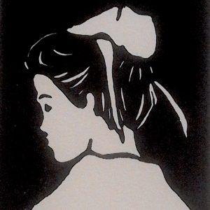 Jeune fille en coiffe du Trégor, linogravure.