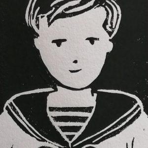 Petit marin, linogravure.